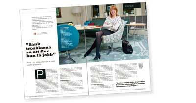 Bild på tidningsuppslag med Annie Lööf.