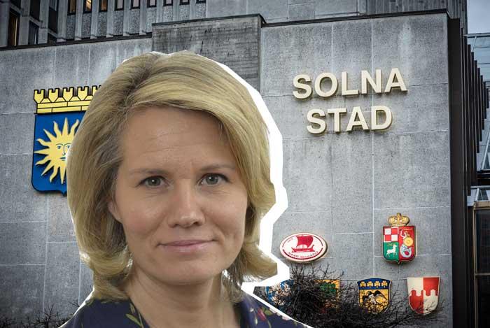 Collage med Pia Steensland och Solna stadshus