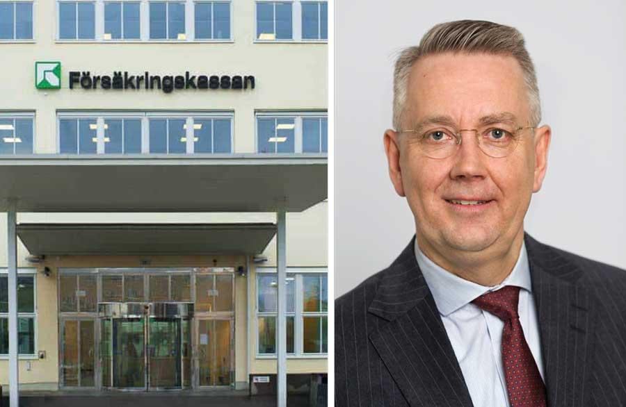 JO Thomas Norling och Försäkringskassans fasad. Collage.