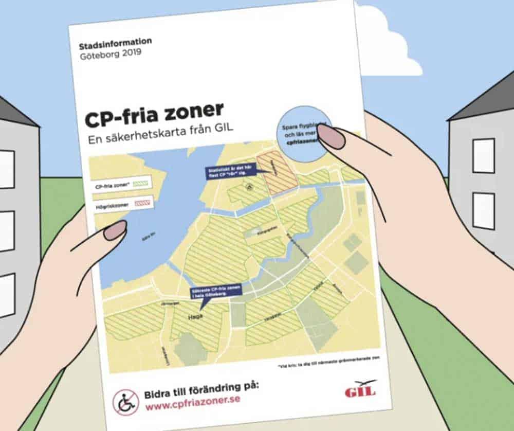 Turistkarta med CP-fria zoner. Från GIL:s nya animerade film.