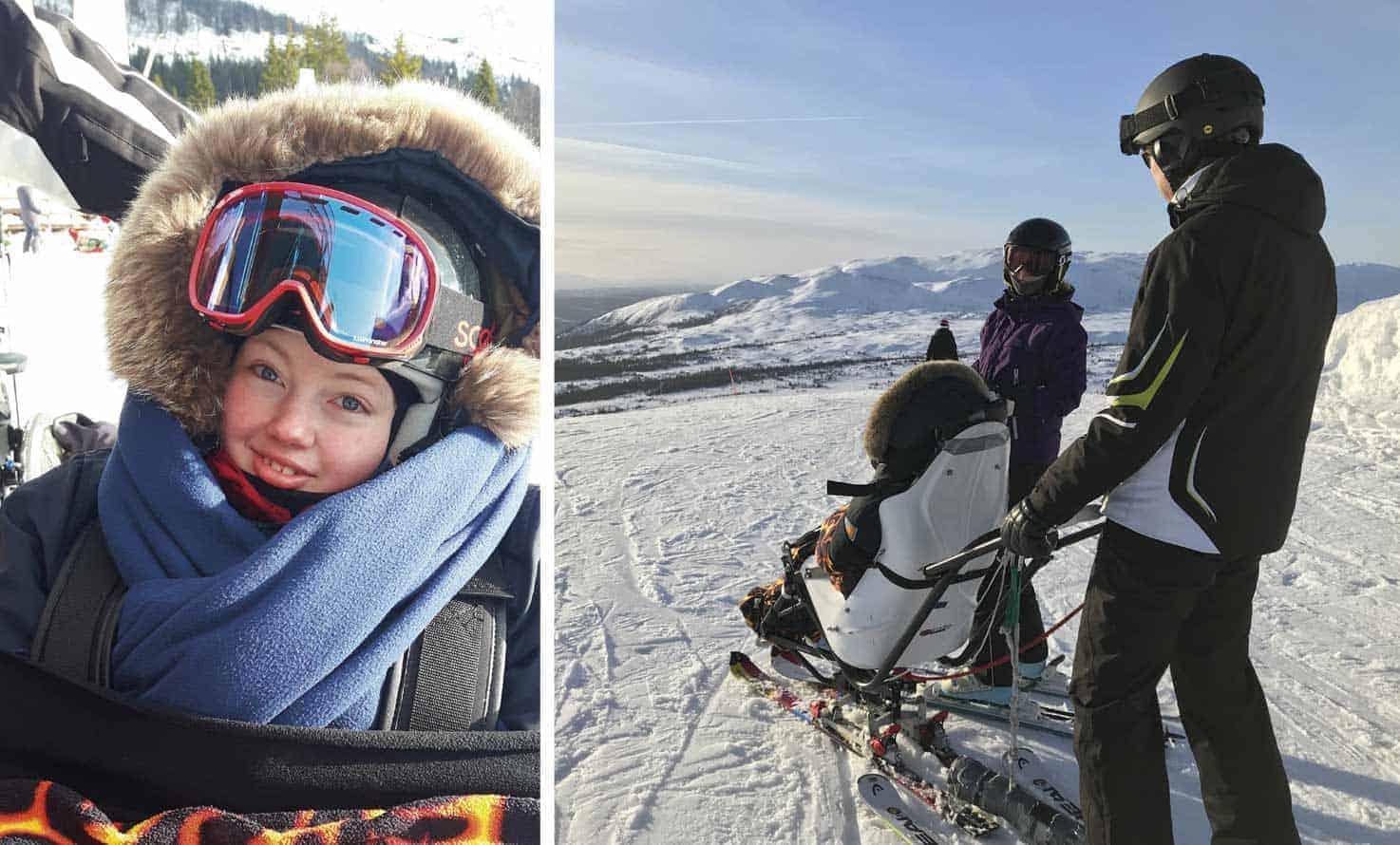 """Emma har nyligen kommit hem från skidåkning i Åre tillsammans med pappa Robert. """"Vi kör både ski-cart och bi-skii. Med bi-ski blir det härliga carvingsvängar i backarna"""""""
