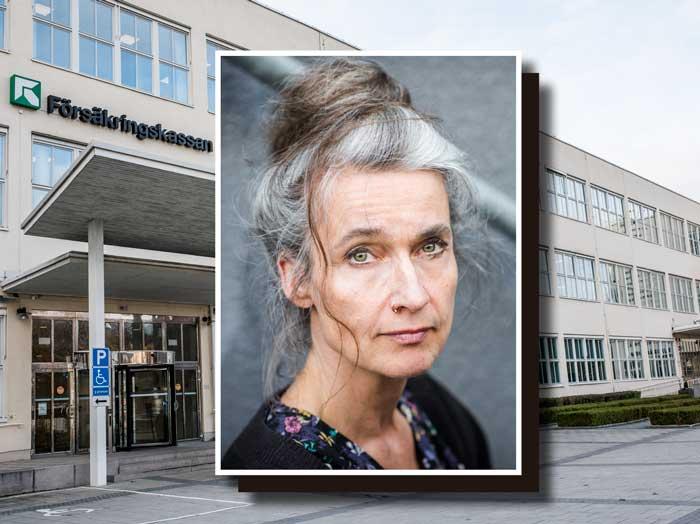 Maria Persdotter framför Försäkringskassans huvudkontor (collage). Foto: Linnea Bengtsson