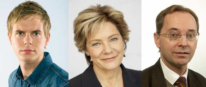 Miljöpartiets språkrör Gustav Fridolin, statsrådet Maria Larsson och utskottsordföranden Gunnar Axén spelar alla elhockey i sommar.