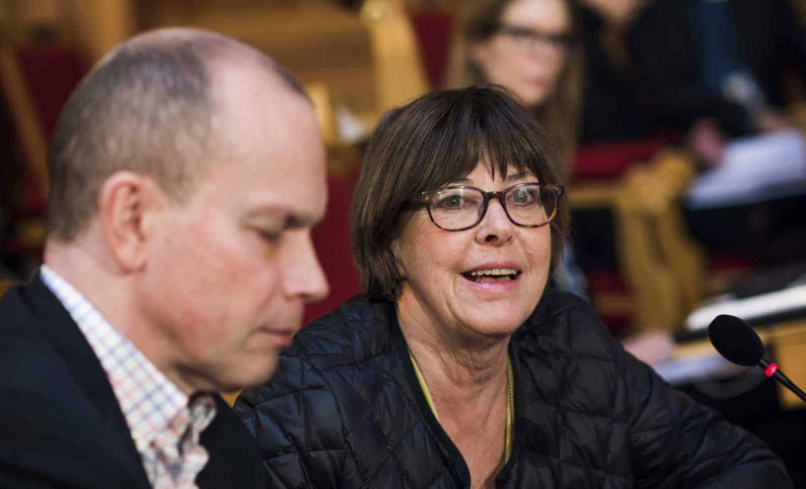 Utredaren Gunilla Malmborg och huvudsekreteraren Anders Viklund på en assistansutfrågning i riksdagen våren 2018. Foto: Linnea Bengtsson.