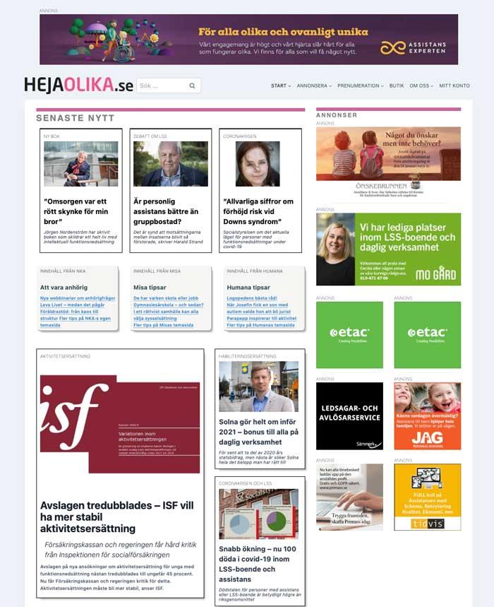 Skärmbild på HejaOlikas startsida
