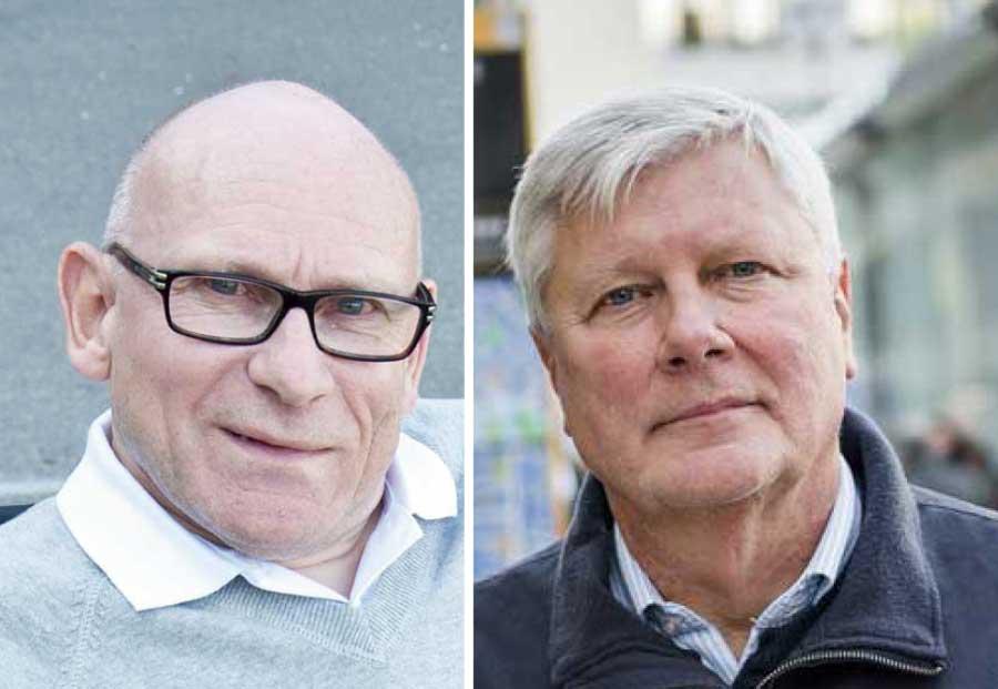 Pelle Kölhed (till vänster) uppges lämna Funktionsrätt Sveriges styrelse i protest mot att Lars Ohly (till höger) inte vill avgå.