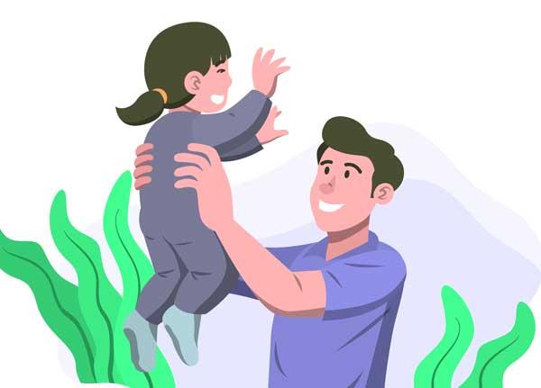 Pappa leker med dotter (illustration från Envato)