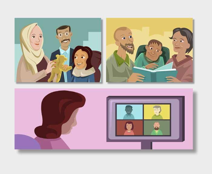 Samtalsgrupp arabiska. Illustration av Mattias Gordon