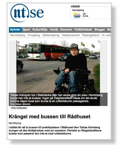 Bild på artikel ur Norrköpings tidningar